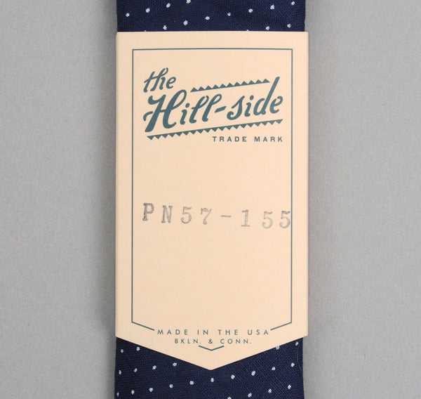 The Hill-Side LINEN INDIGO DISCHARGE PRINT POINTED TIE, PINDOT