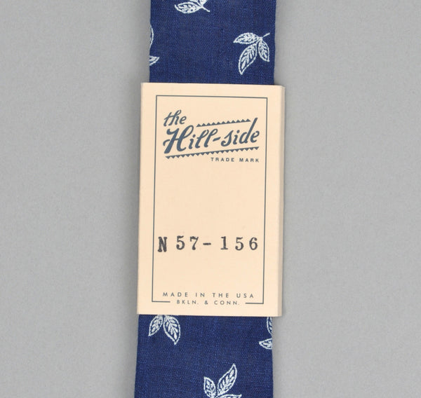 The Hill-Side - LINEN INDIGO DISCHARGE PRINT TIE, LEAVES - N57-156