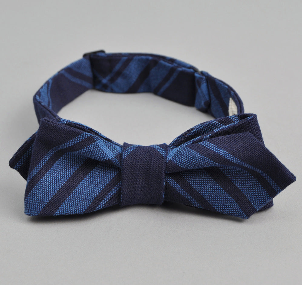 The Hill-Side - Large Check Oxford Bow Tie, Indigo - BT1-255 - image 1