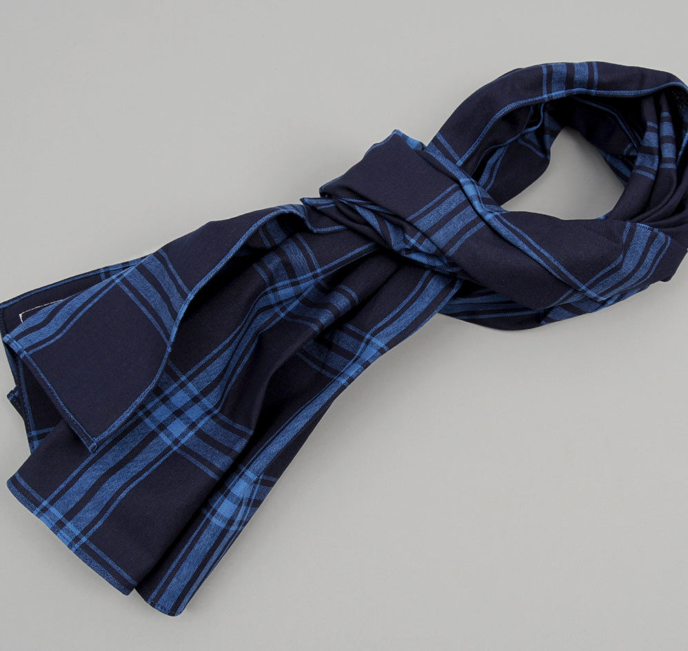 The Hill-Side - Large Check Oxford Large Scarf, Indigo - SC1-255 - image 1