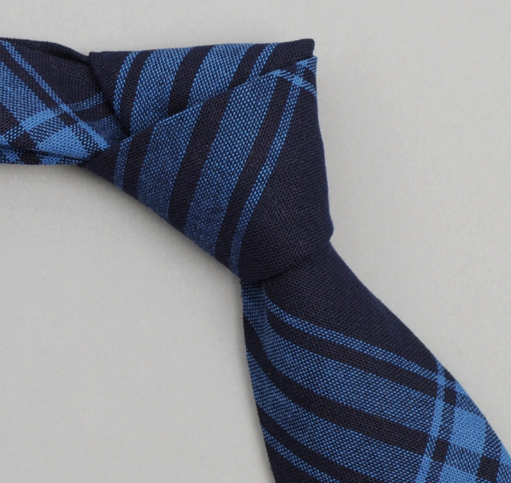 The Hill-Side - Large Check Oxford Necktie, Indigo - ST1-255 - image 1