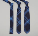 The Hill-Side - Large Check Oxford Necktie, Indigo - ST1-255 - image 2