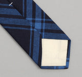 The Hill-Side - Large Check Oxford Necktie, Indigo - ST1-255 - image 3