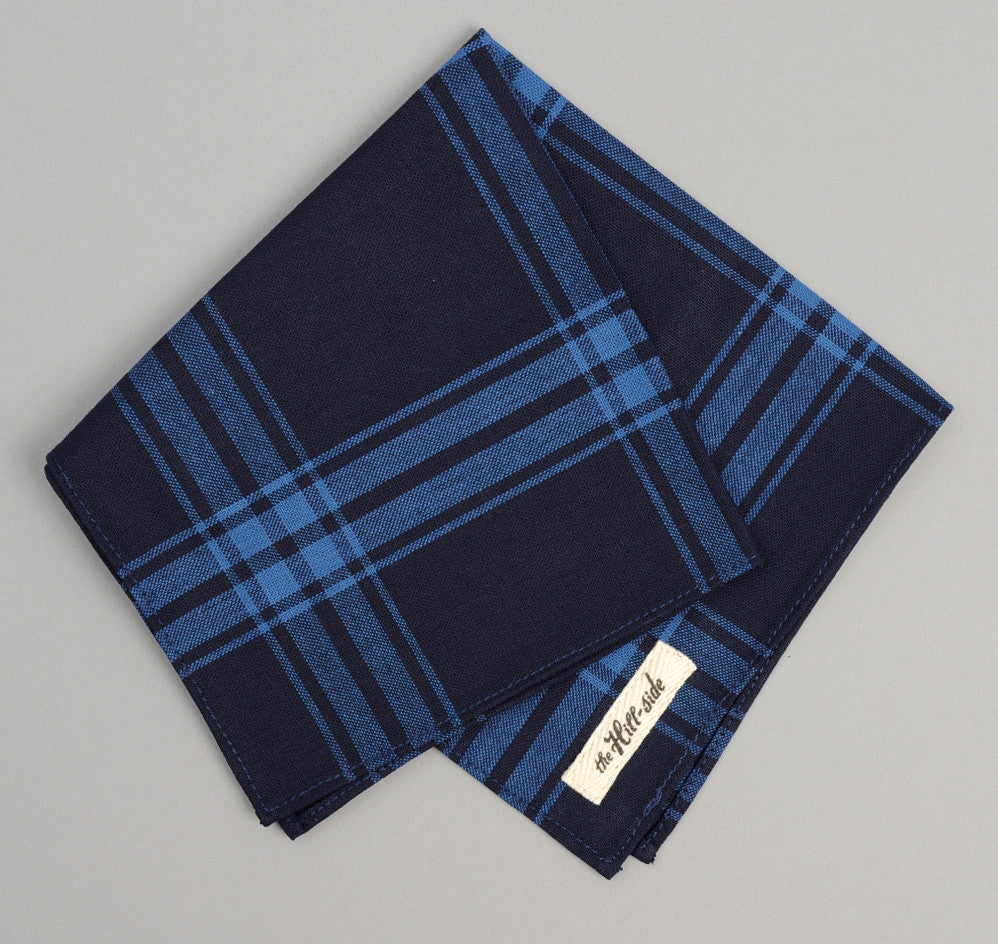 The Hill-Side - Large Check Oxford Pocket Square, Indigo - PS1-255 - image 1