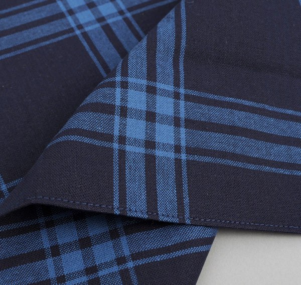 The Hill-Side - Large Check Oxford Pocket Square, Indigo - PS1-255 - image 2