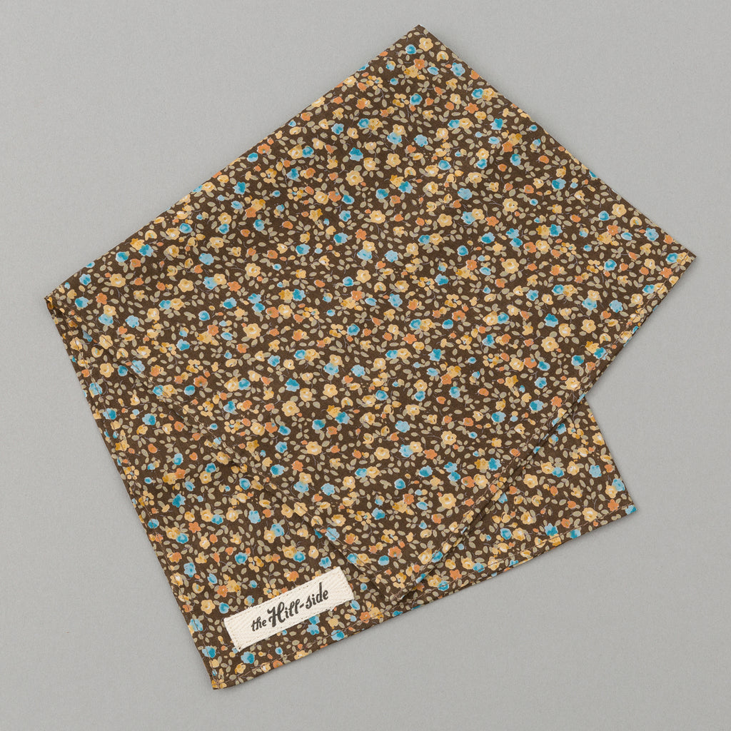 The Hill-Side Lightweight All-Over Floral Print Pocket Square, Brown