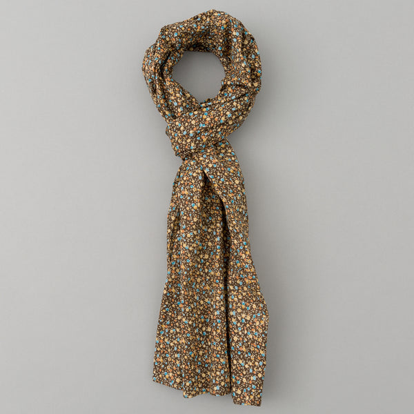 The Hill-Side - Lightweight All-Over Floral Print Scarf, Brown - SC1-482