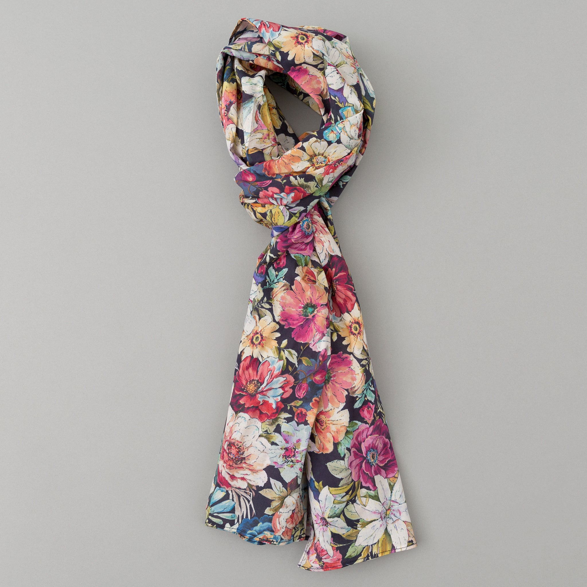The Hill-Side - Lightweight Big Flowers Print Scarf, Multicolor - SC1-494 - image 1