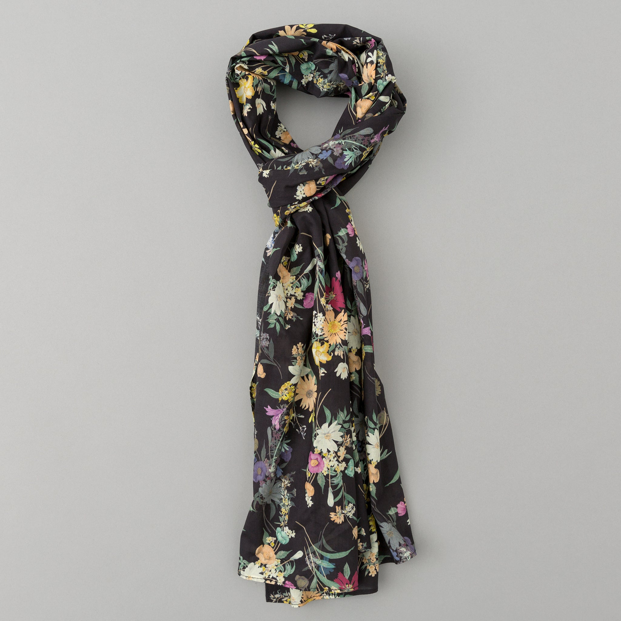 The Hill-Side - Lightweight Bouquet Print Scarf, Black - SC1-493 - image 1