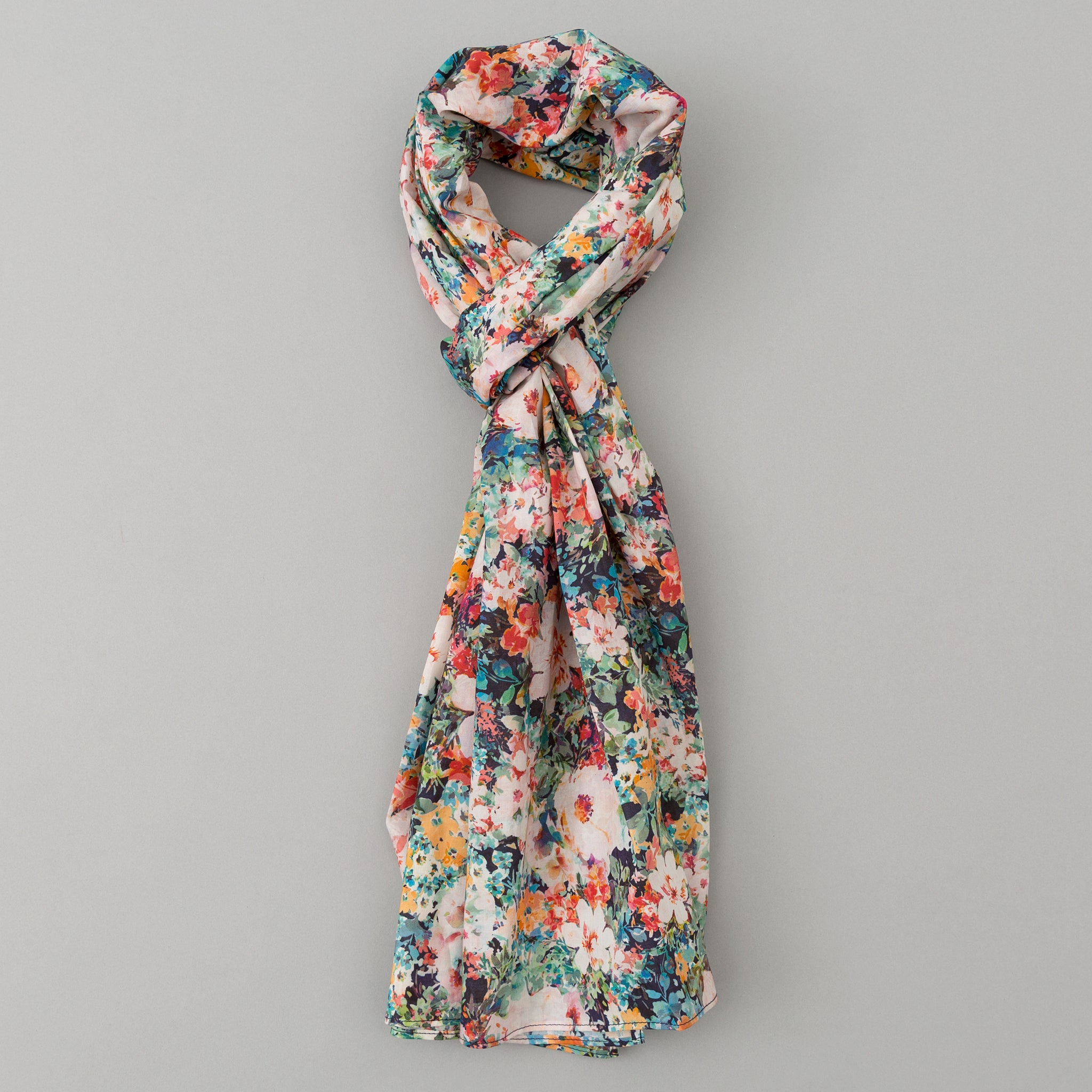 The Hill-Side - Lightweight Garden Print Scarf, Navy - SC1-492 - image 1