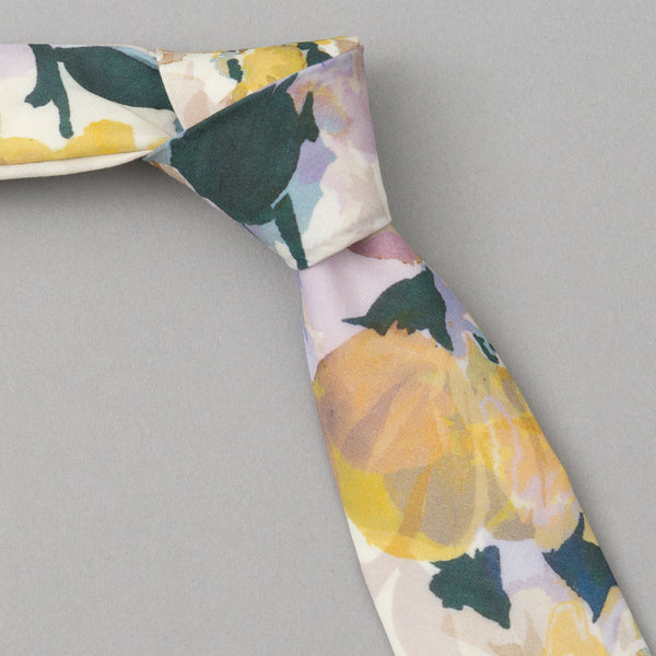 The Hill-Side - Lightweight Watercolor Floral Print Tie, White - PT1-488 - image 1