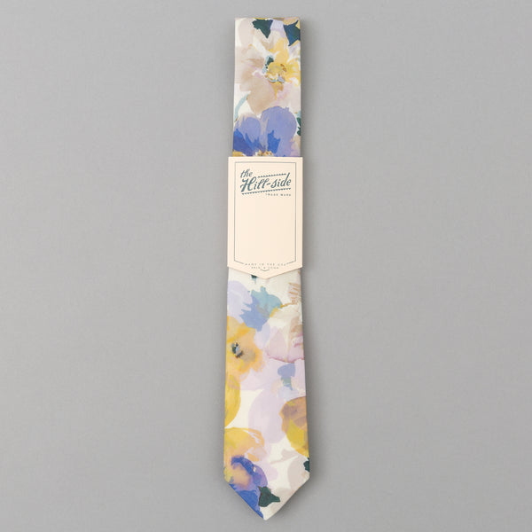 The Hill-Side - Lightweight Watercolor Floral Print Tie, White - PT1-488 - image 2
