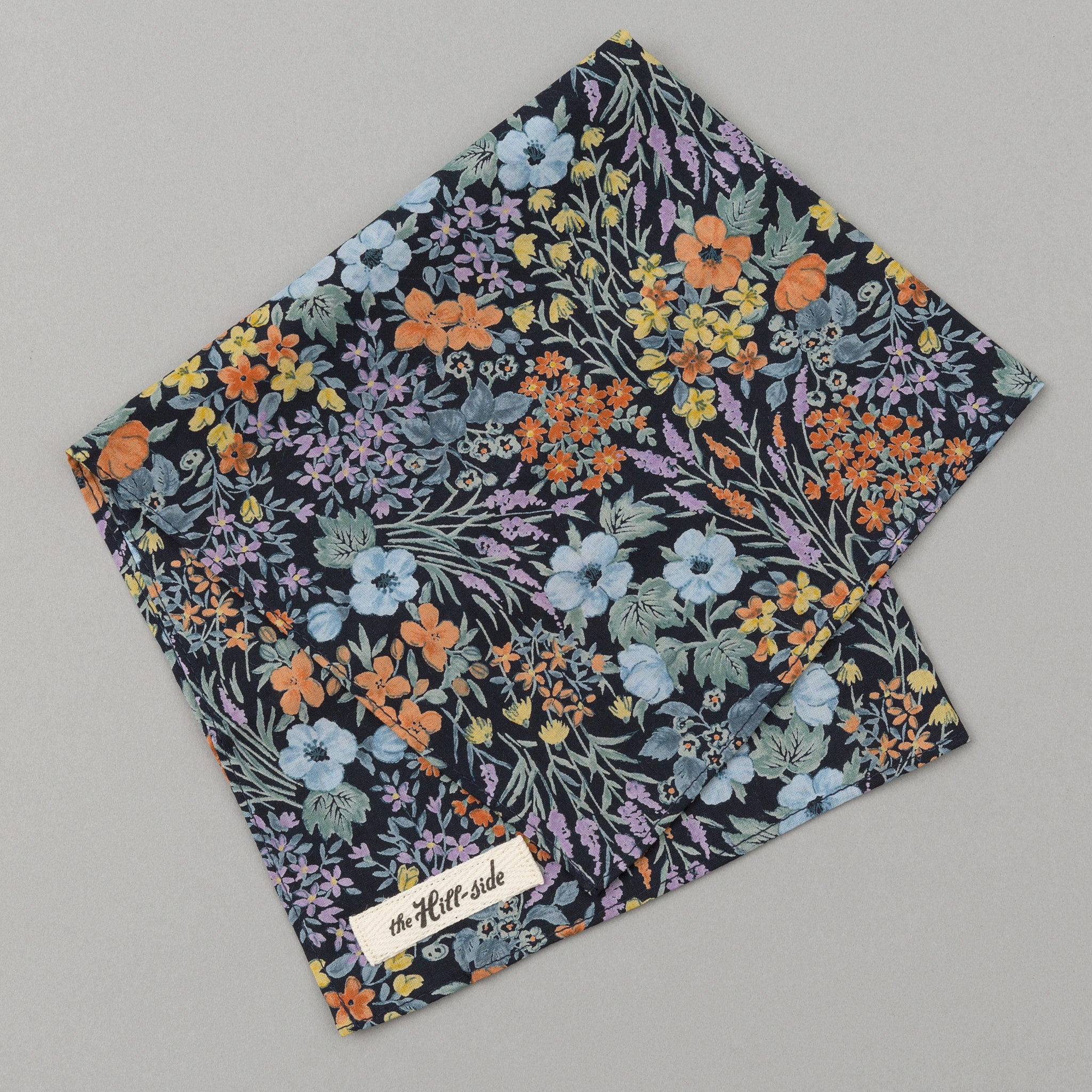 The Hill-Side Lightweight Wildflowers Print Pocket Square, Navy