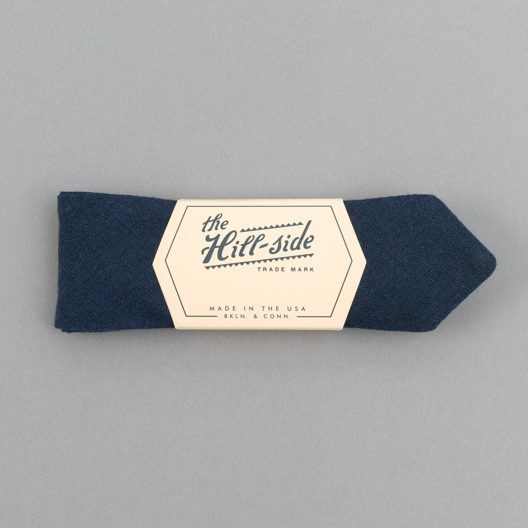 The Hill-Side - Linen / Cotton Oxford Bow Tie, Navy - BT1-418 - image 1