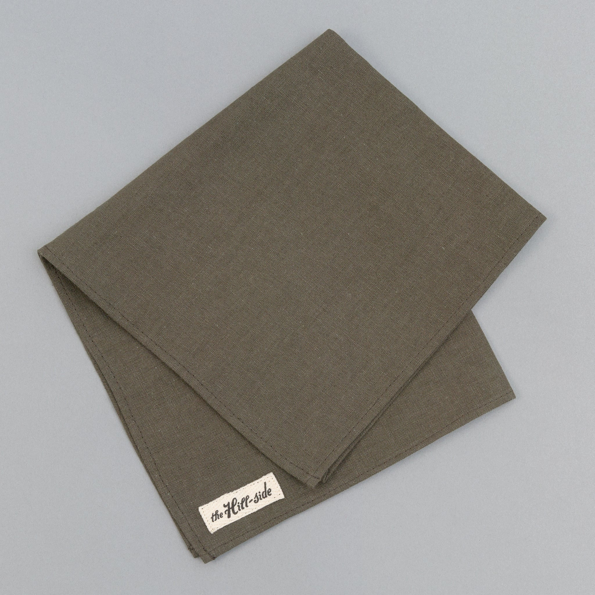 The Hill-Side - Linen / Cotton Oxford Pocket Square, Olive - PS1-417 - image 1