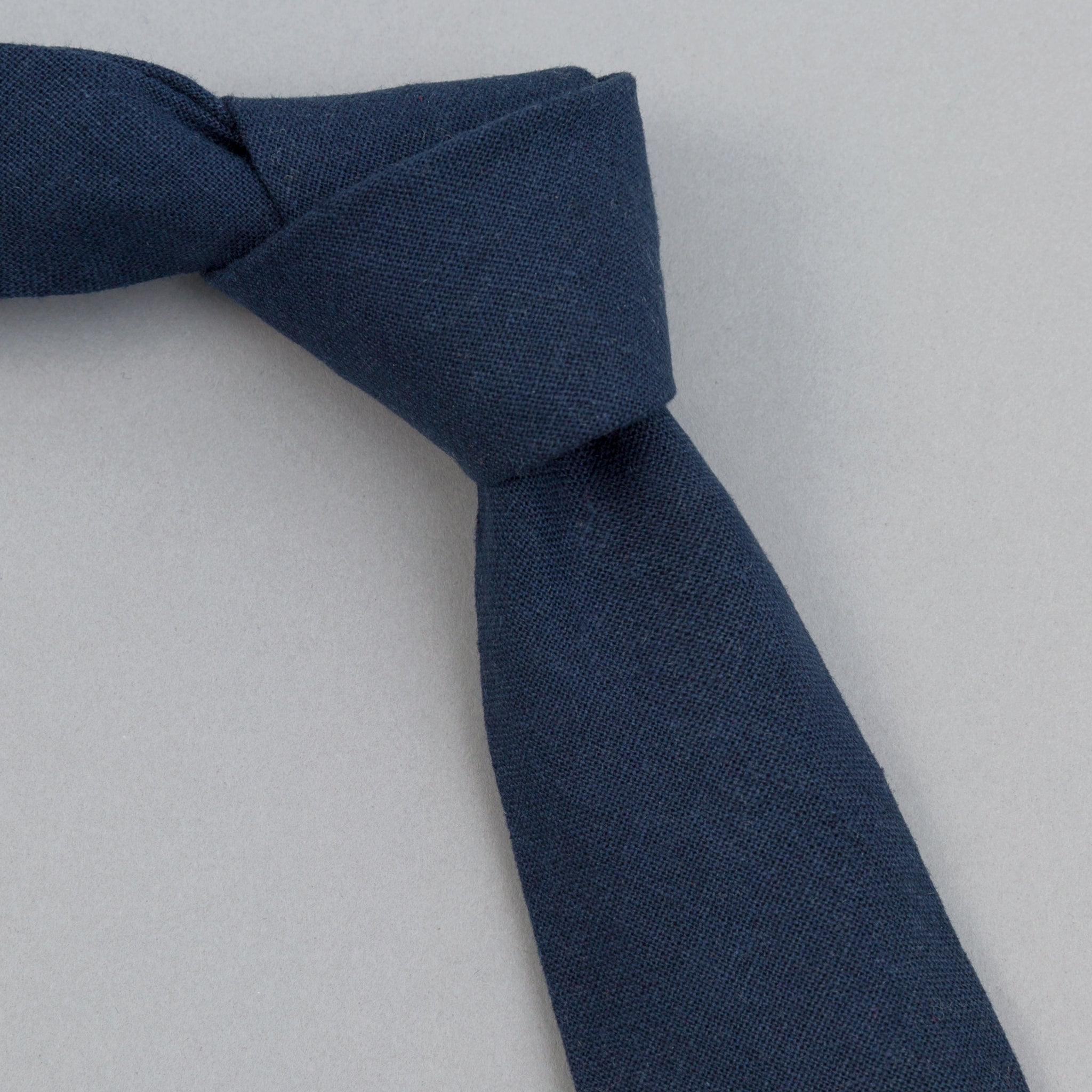 The Hill-Side - Linen / Cotton Oxford Tie, Navy - PT1-418 - image 1