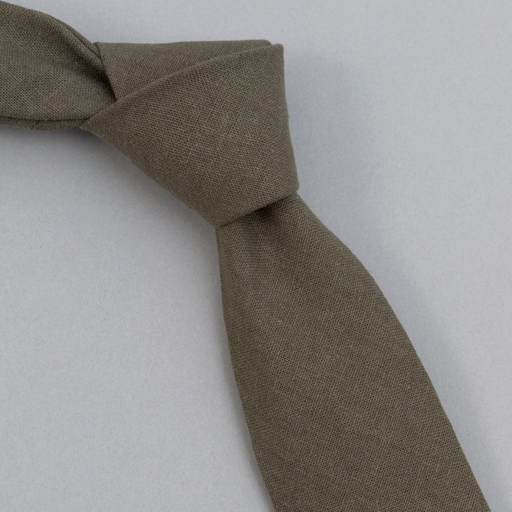 The Hill-Side - Linen / Cotton Oxford Tie, Olive - PT1-417 - image 1