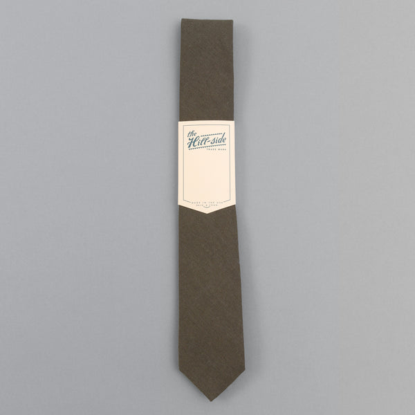 The Hill-Side - Linen / Cotton Oxford Tie, Olive - PT1-417 - image 2