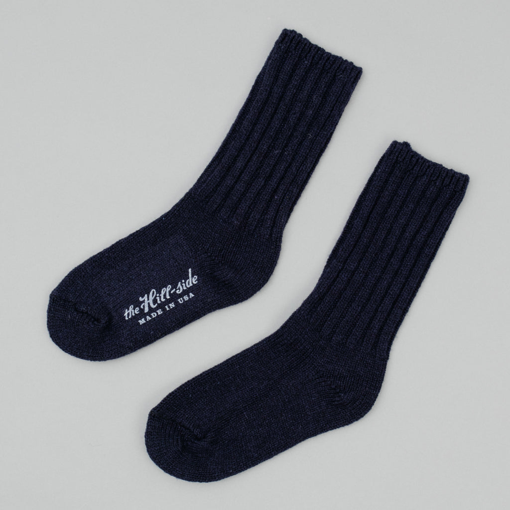 The Hill-Side - Merino Wool Ragg Socks, Navy - SX5-01 - image 1