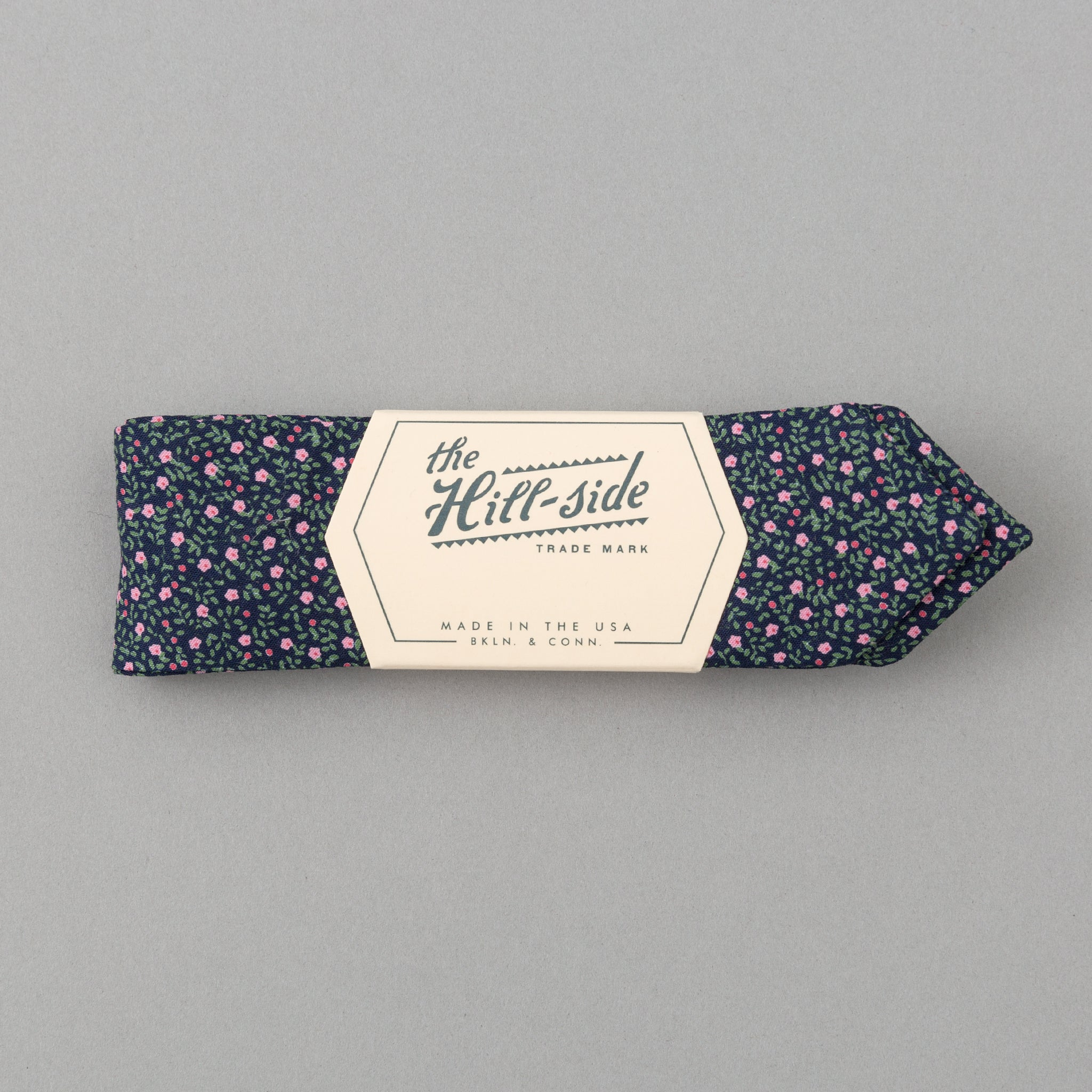 The Hill-Side Micro Calico Print Bow Tie, Navy