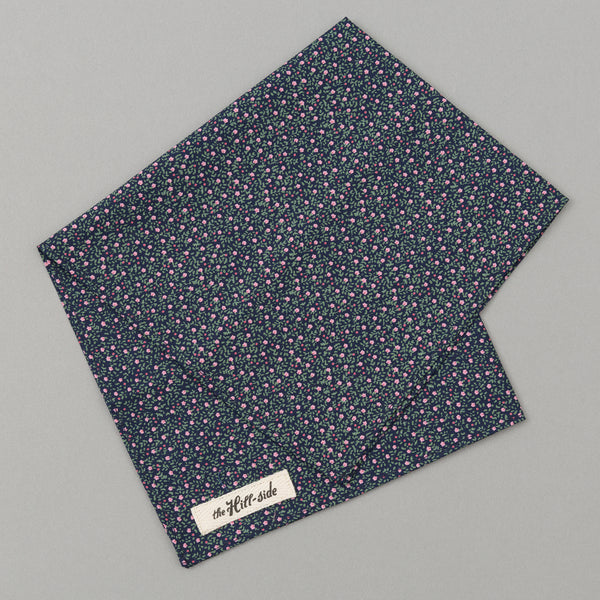 The Hill-Side Micro Calico Print Pocket Square, Navy