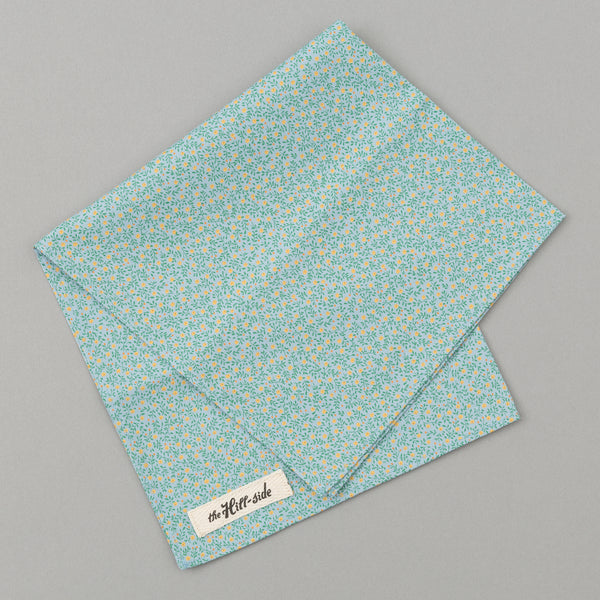The Hill-Side Micro Calico Print Pocket Square, Turquoise