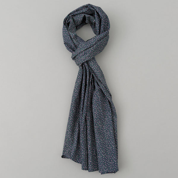 The Hill-Side - Micro Calico Print Scarf, Navy - SC1-497 - image 1