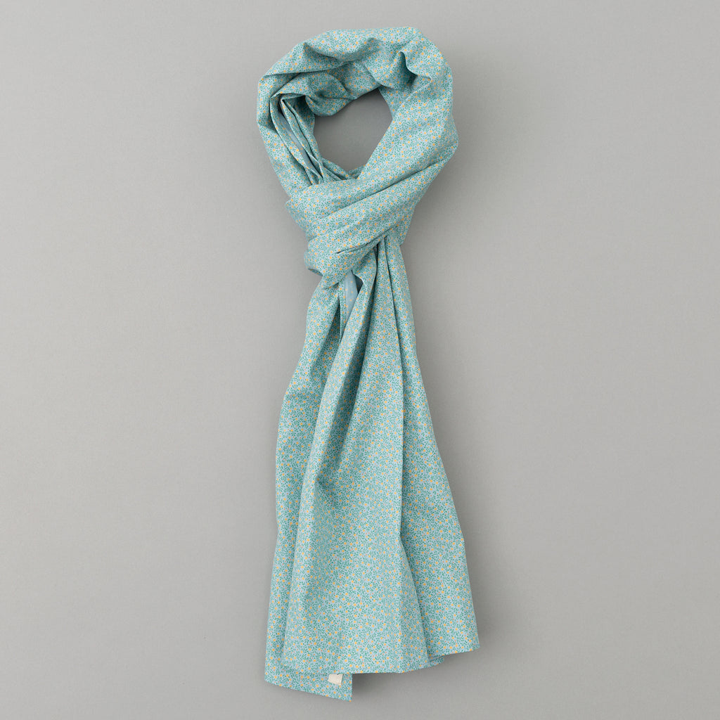 The Hill-Side - Micro Calico Print Scarf, Turquoise - SC1-496 - image 1