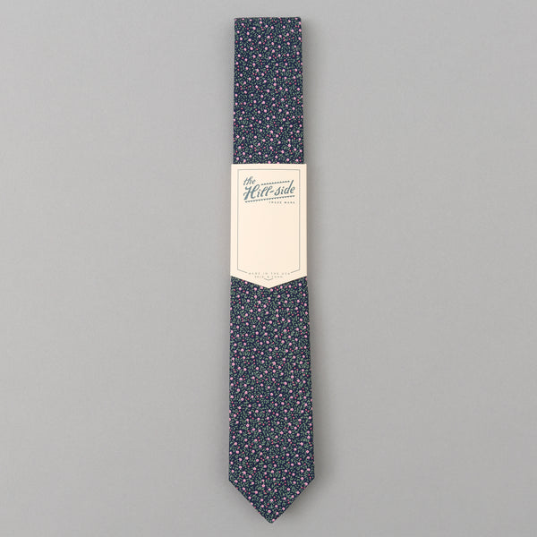 The Hill-Side Micro Calico Print Tie, Navy