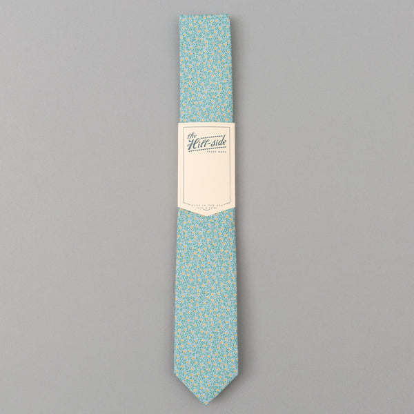 The Hill-Side Micro Calico Print Tie, Turquoise