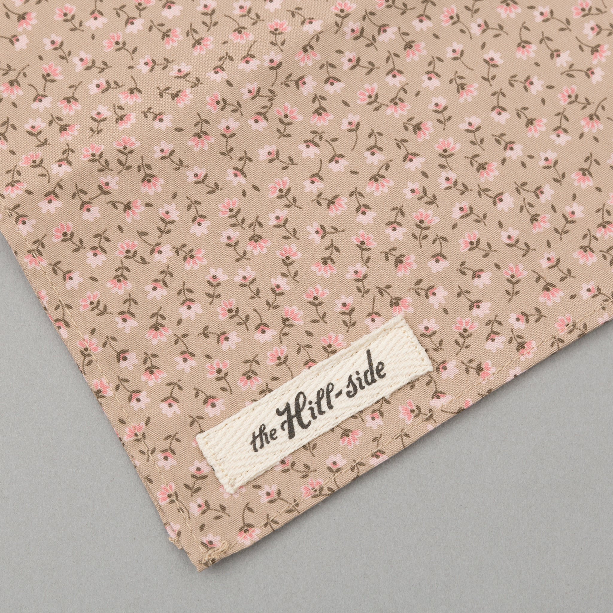 The Hill-Side - Miniature Calico Print Bandana, Tan - BA1-480