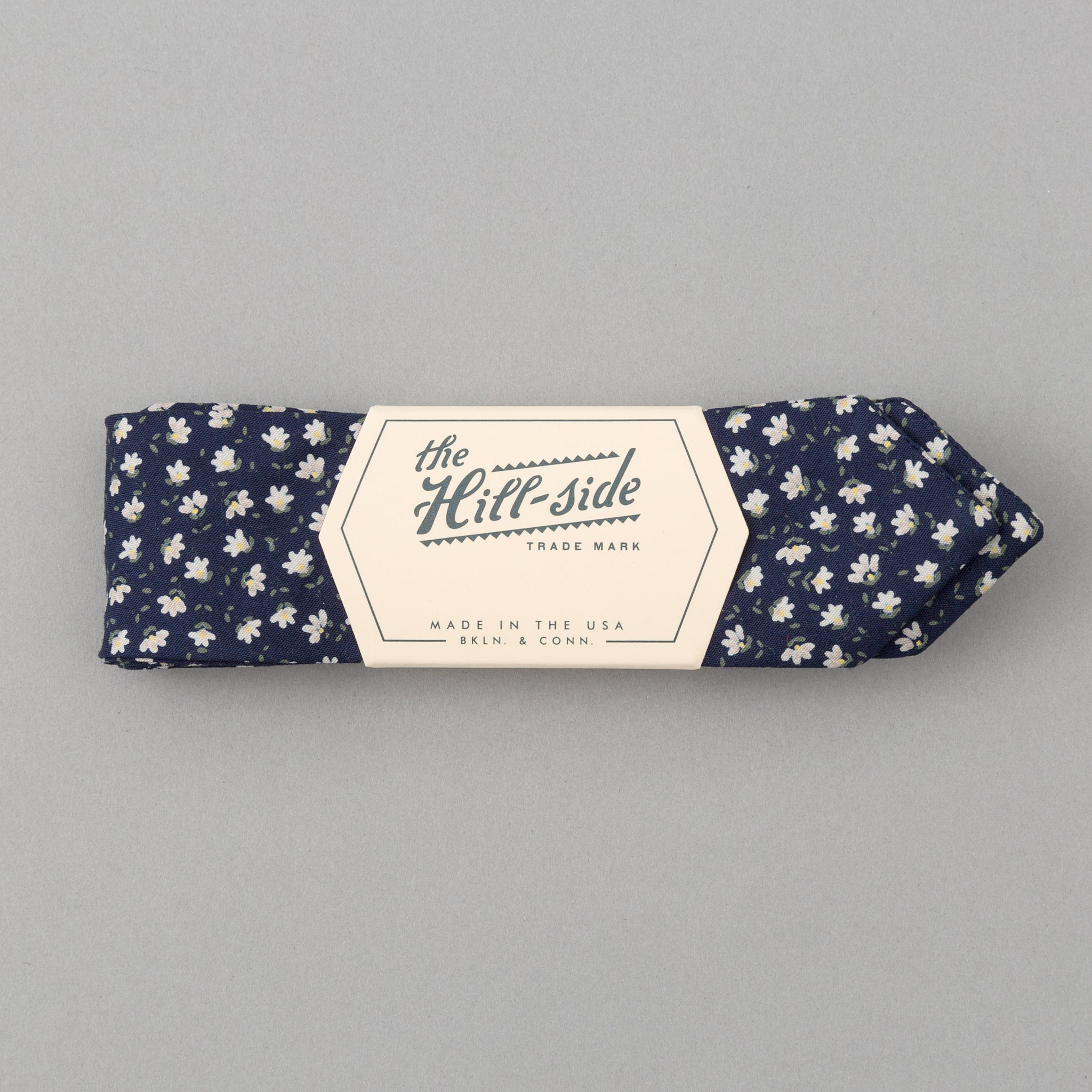 The Hill-Side - Miniature Calico Print Bow Tie, Navy - BT1-479