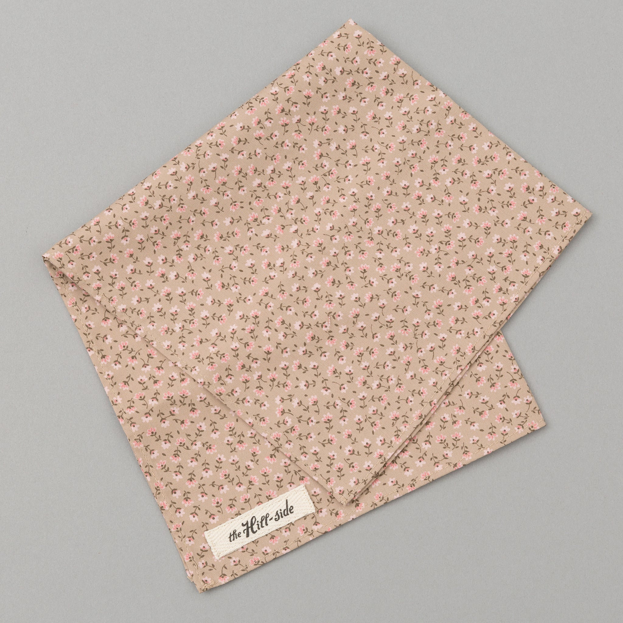 The Hill-Side - Miniature Calico Print Pocket Square, Tan - PS1-480