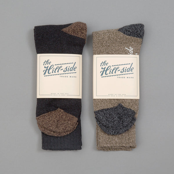 The Hill-Side - Mixed 2-Pack Socks, Black and Olive - SX11-04