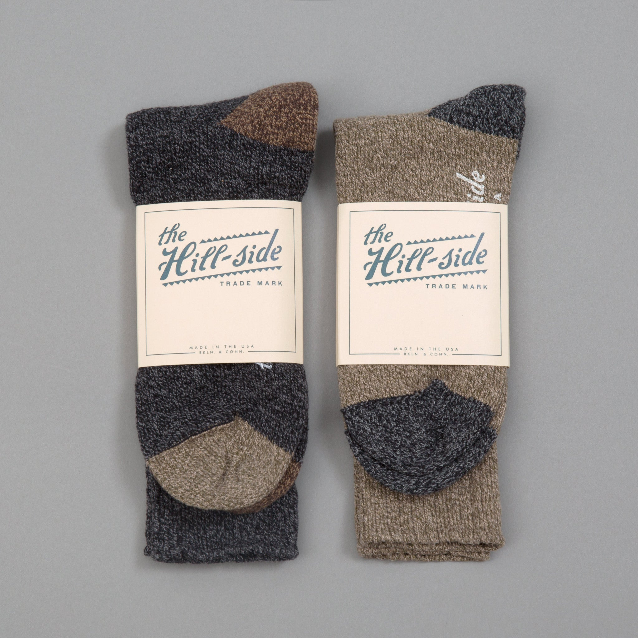 The Hill-Side - Mixed 2-Pack Socks, Charcoal and Olive - SX11-02 - image 1