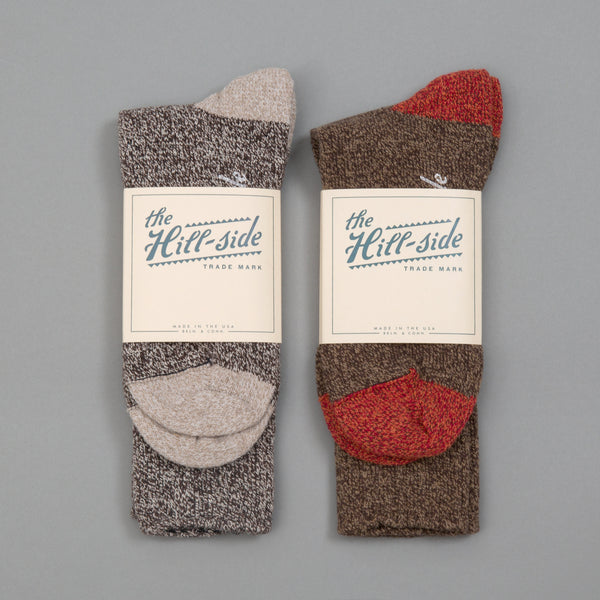 The Hill-Side - Mixed 2-Pack Socks, Salt & Pepper and Brown - SX11-03 - image 1