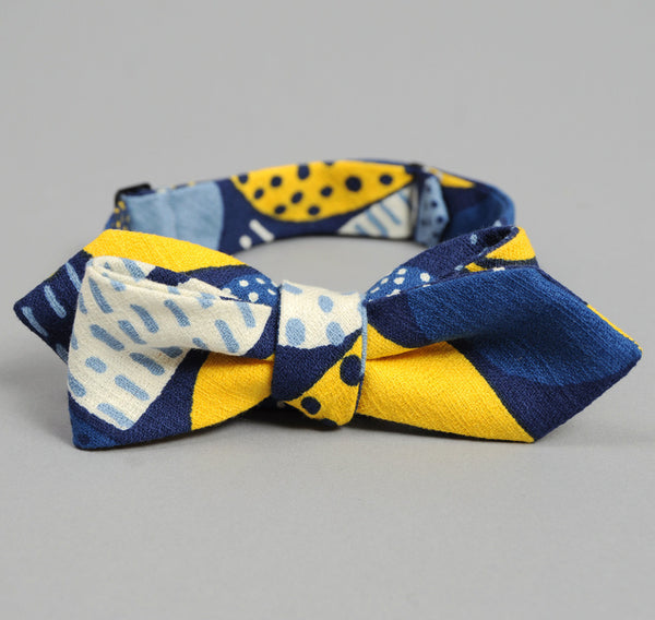 "The Hill-Side ""Mounds"" Abstract Print Bow Tie, Blue / Yellow"
