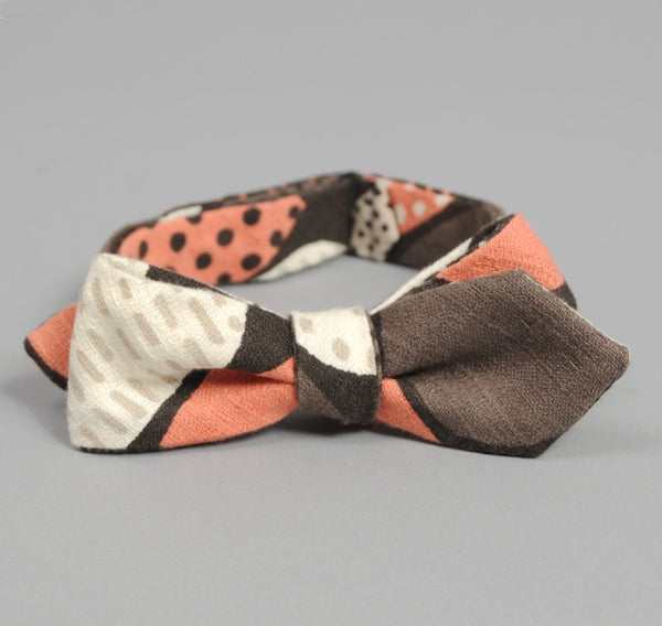 "The Hill-Side ""Mounds"" Abstract Print Bow Tie, Brown / Pink"