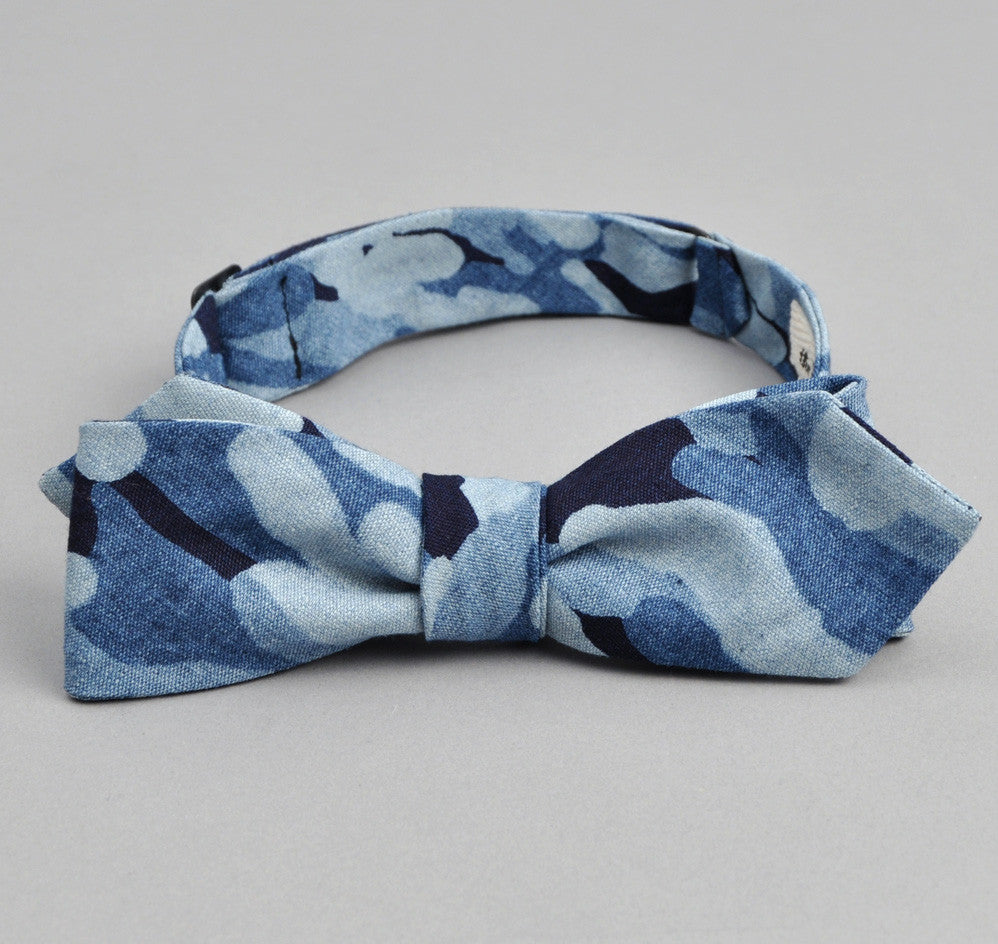 The Hill-Side - Multi-Discharge Cloud Print Bow Tie, Indigo - BT1-272 - image 1