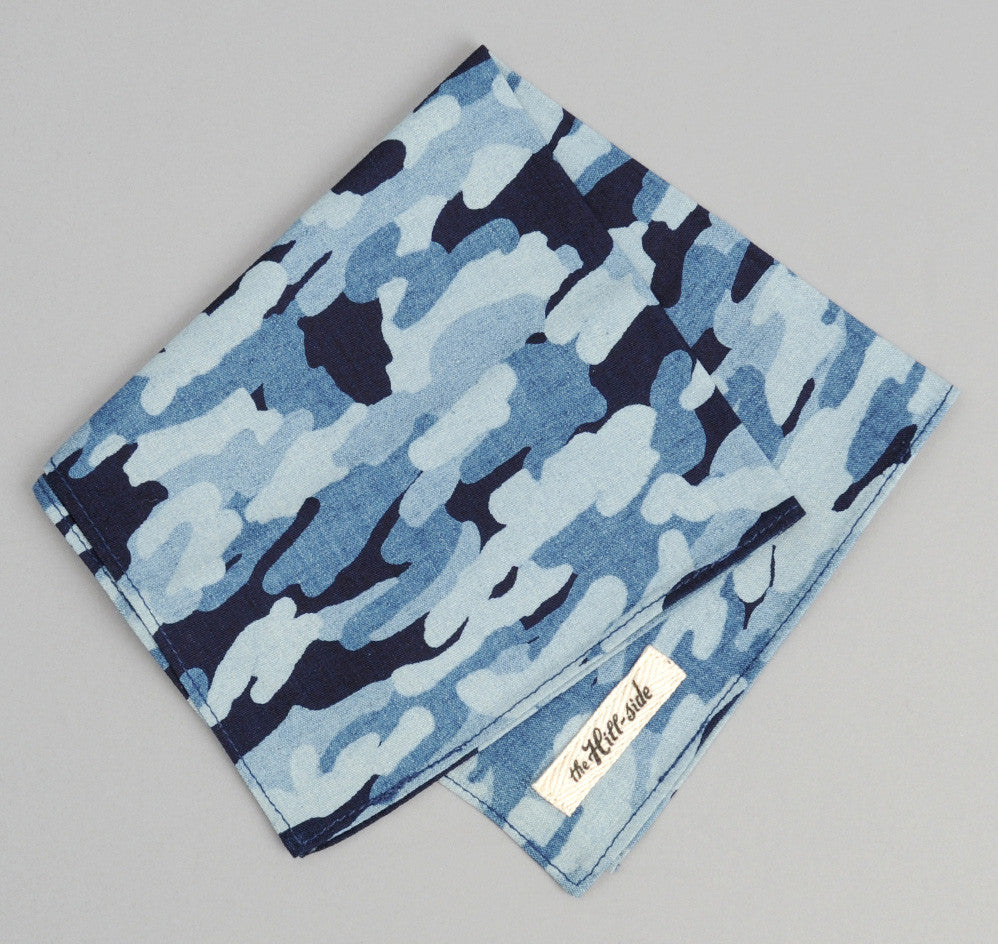 The Hill-Side - Multi-Discharge Cloud Print Pocket Square, Indigo - PS1-272 - image 1