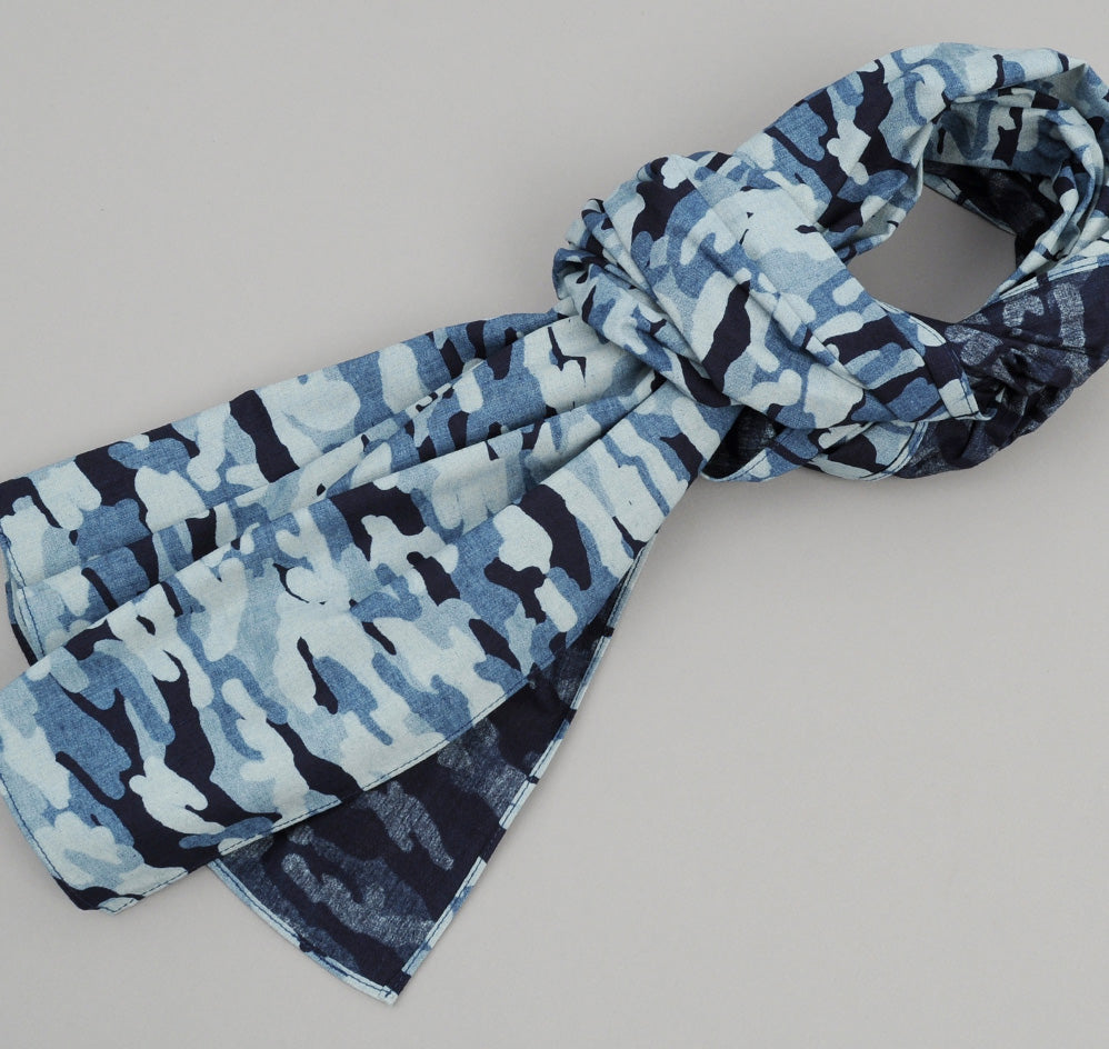 The Hill-Side - Multi-Discharge Cloud Print Small Scarf, Indigo - SC2-272 - image 1