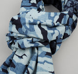 The Hill-Side - Multi-Discharge Cloud Print Small Scarf, Indigo - SC2-272 - image 2