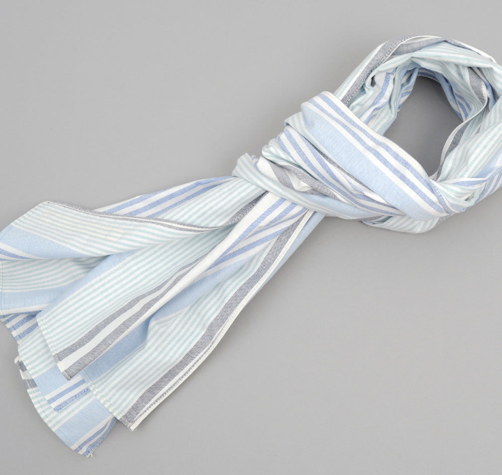The Hill-Side - Multi Stripe Oxford Small Scarf, Turquoise / Blue / Navy - SC2-252 - image 1