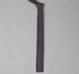 The Hill-Side - N57-147 - Diamond-Quilted Double-Face Gauze Stripe Tie, Brown / Navy -