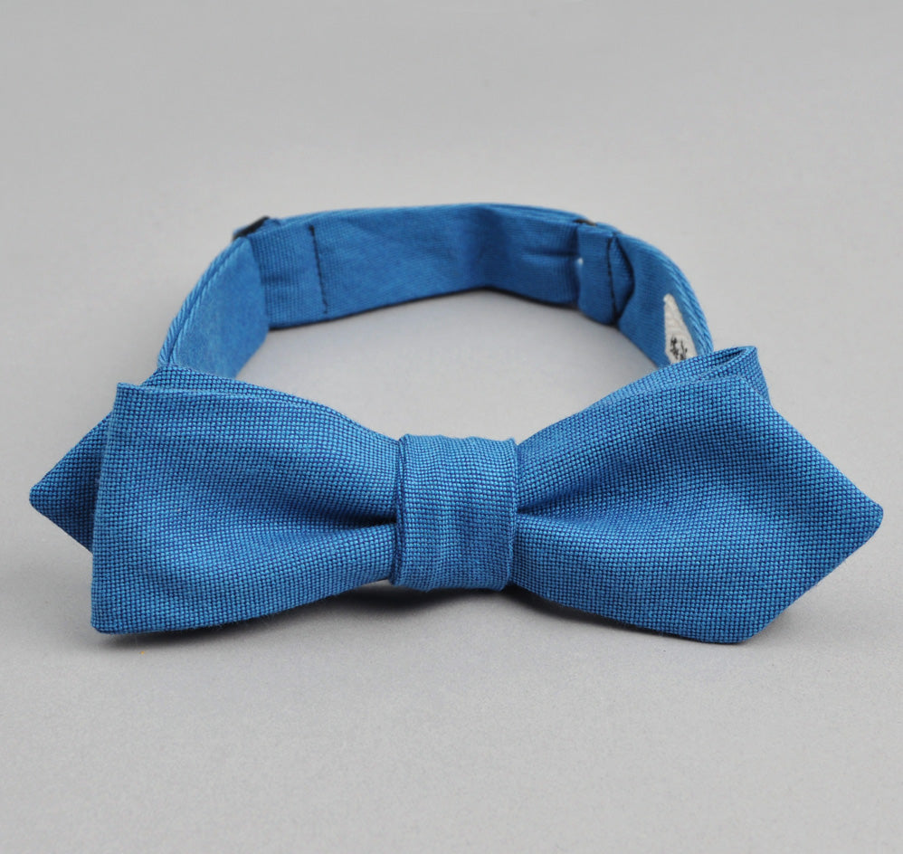 The Hill-Side - Navy Warp Oxford Bow Tie, Bright Blue / Navy - BT1-251 - image 1