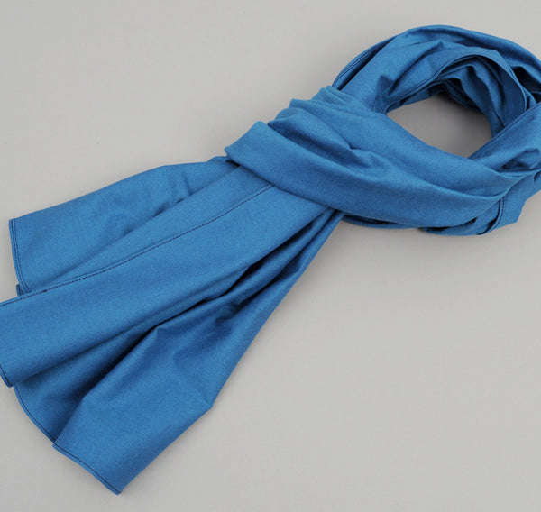 The Hill-Side - Navy Warp Oxford Large Scarf, Bright Blue / Navy - SC1-251 - image 1