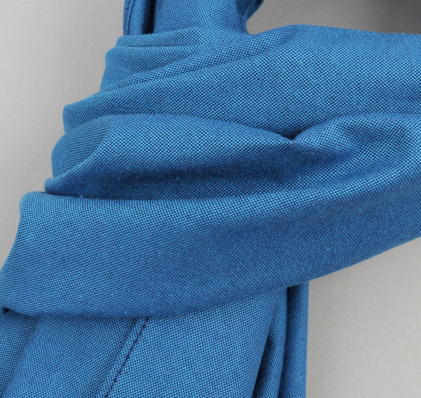 The Hill-Side - Navy Warp Oxford Large Scarf, Bright Blue / Navy - SC1-251 - image 2