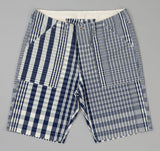 The Hill-Side - Non-Repeating Check Oxford Fatigue Shorts, Indigo / White - SP1-321 - image 1