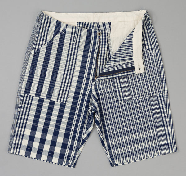 The Hill-Side - Non-Repeating Check Oxford Fatigue Shorts, Indigo / White - SP1-321 - image 2
