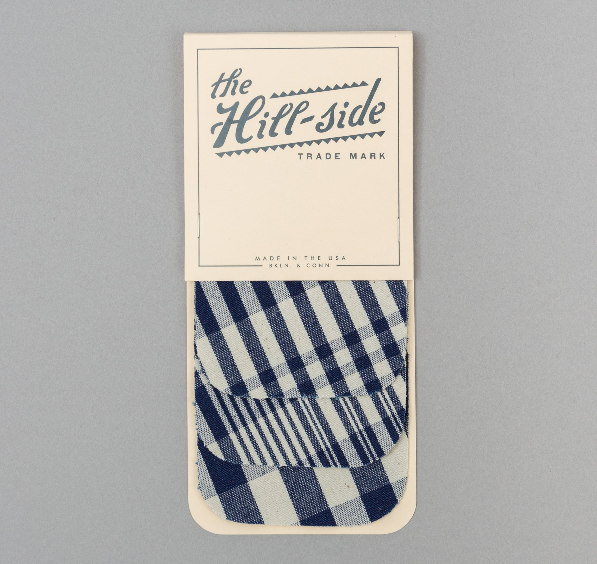 The Hill-Side - Non-Repeating Check Oxford Iron-On Patches, Indigo / White - PA1-321 - image 1